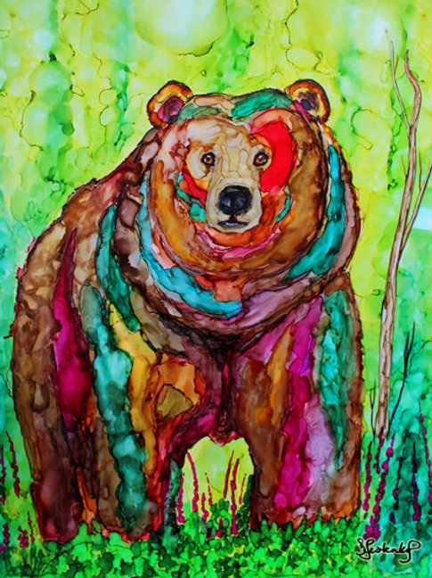 """Bear in Fireweed"", alcohol ink painting"
