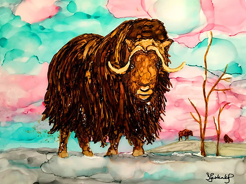 """Musk Ox Winter"", alcohol ink painting"