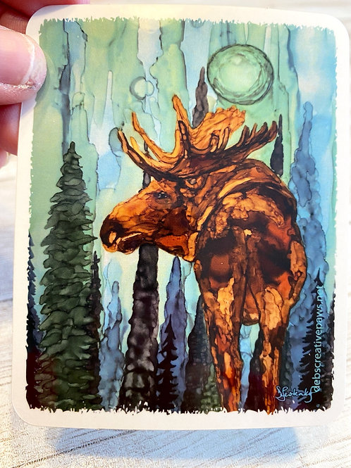 Moose in Blue Fog waterproof sticker