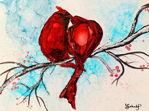 """""""Cardinal Kiss"""", alcohol ink painting"""