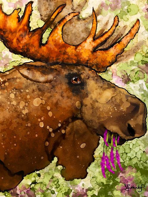 """Moose Munchin"", alcohol ink painting"