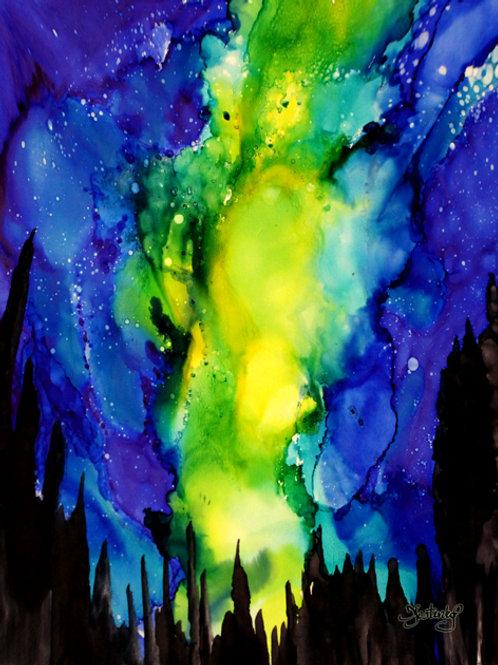 """Aurora in Alaska"", alcohol ink painting"