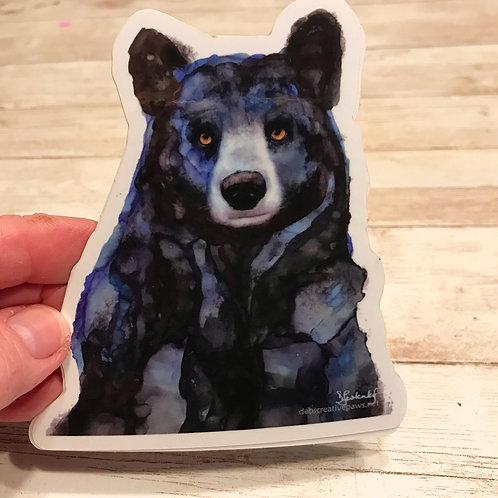 Midnight Blue Bear waterproof sticker