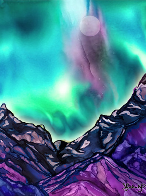 """Aurora Mountains"", alcohol ink painting"