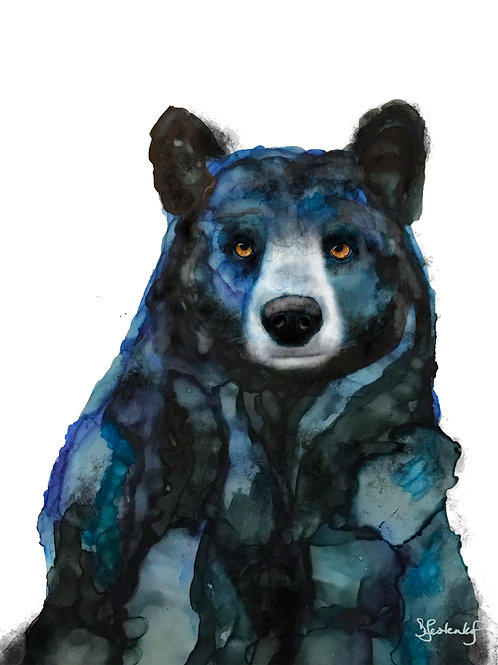 """Midnight Blue Bear"", alcohol ink painting"
