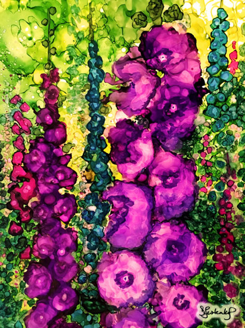 """Hollyhock Garden"", alcohol ink painting"