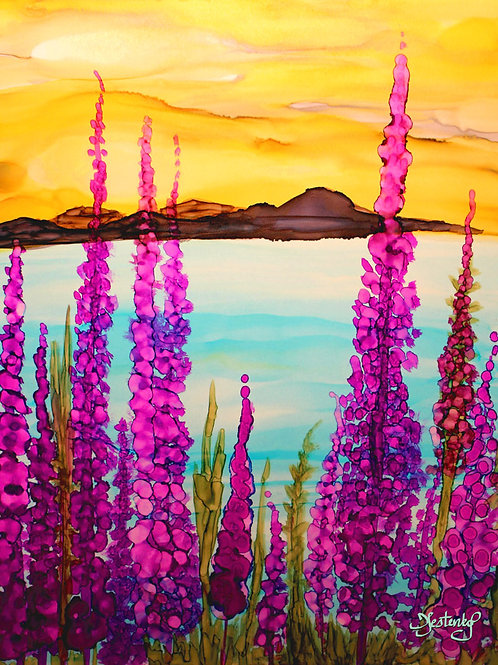 """Fireweed Over Fire Island"", alcohol ink painting"