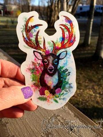 Blossom Antlers waterproof sticker