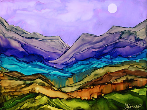 """Colorful Mountains"", alcohol ink painting"