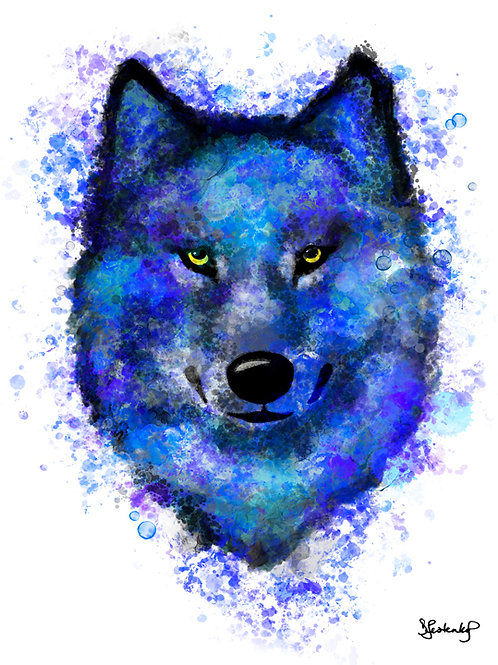 """""""Blue Hunter"""", wolf alcohol ink painting"""