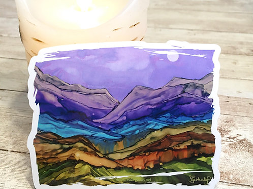Colorful Mountains waterproof sticker