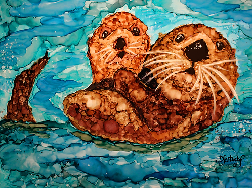 """Otterly Love"",  alcohol ink painting"