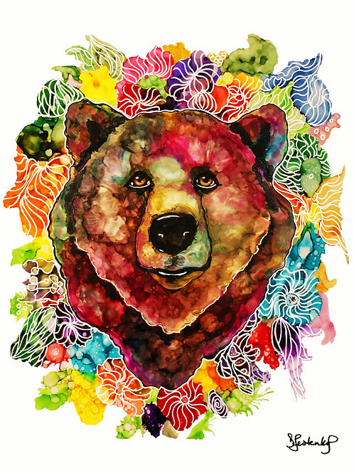 """Blossom Bear"",  alcohol ink painting"