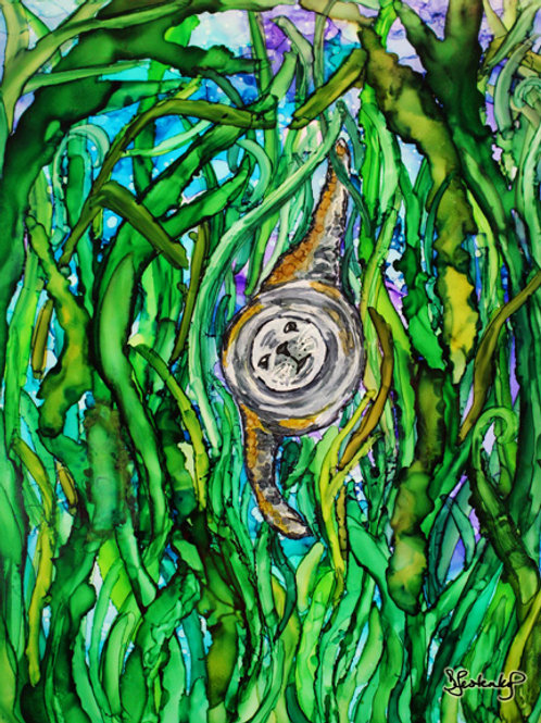 """""""Seal wrapped in seaweed"""", alcohol ink painting"""