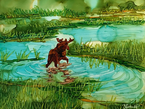 """""""Wandering Moose"""", alcohol ink painting"""