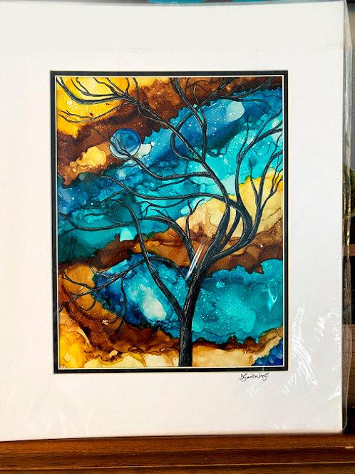 Windy Tree, original alcohol ink painting