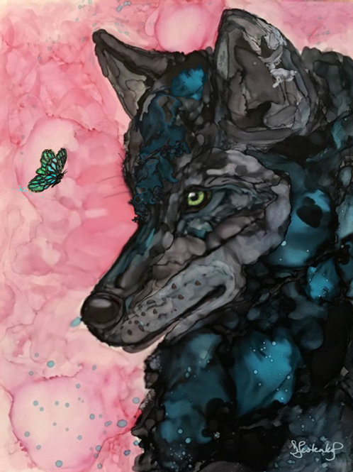 """Wolf and the Butterfly"",  alcohol ink painting"