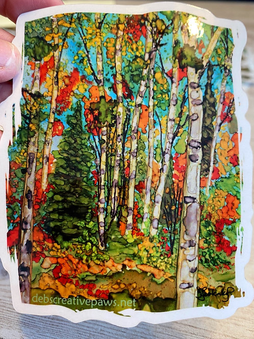 Autumn Birch Trees waterproof sticker