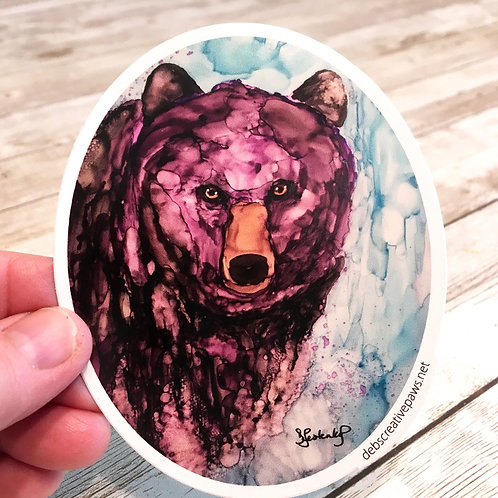 Purple Bear waterproof sticker