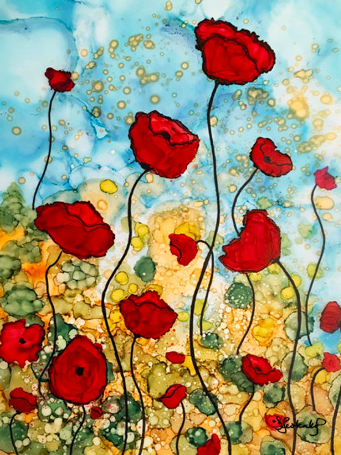 """""""Field of Poppies"""",  alcohol ink painting"""