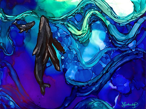 """""""Tip of the Surface"""", whale alcohol ink painting"""