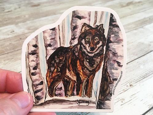 Wolf in the Woods waterproof sticker