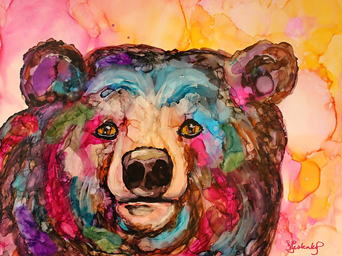 """Sherbert Bear"",  alcohol ink painting"