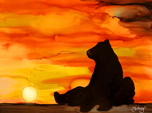 """Sunset Bear"", alcohol ink painting"