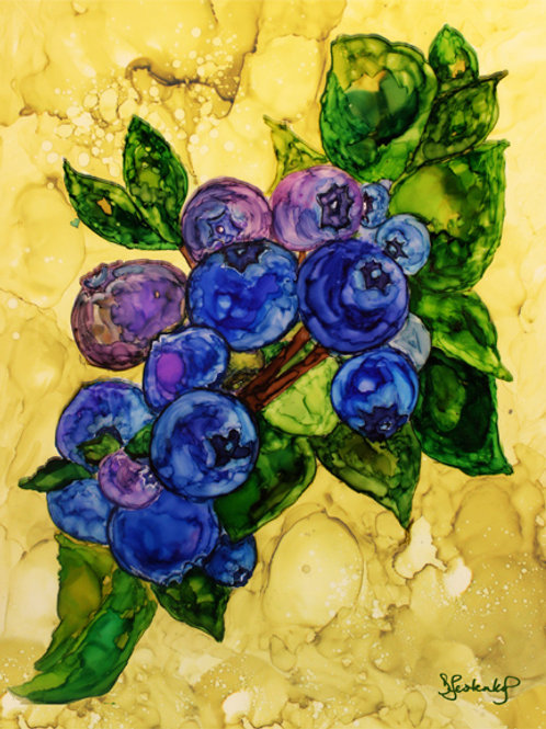 """Blueberry Bunches"", alcohol ink painting"