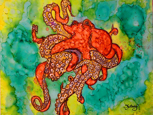 """Octopus Tango"", alcohol ink painting"