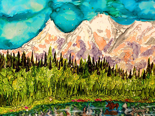 """Denali Park"", alcohol ink painting"
