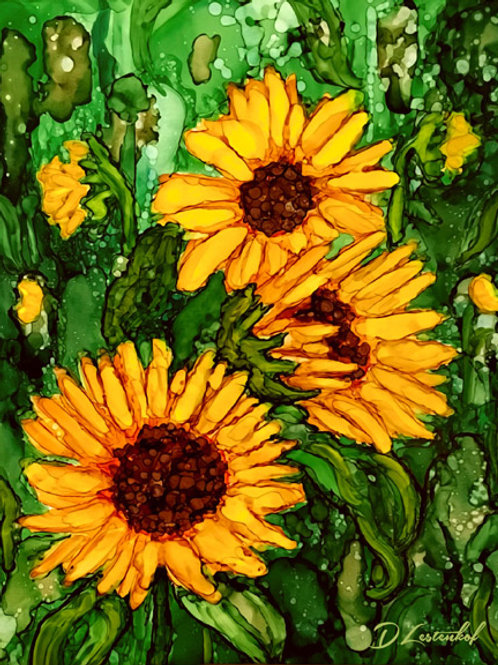 """""""Field of Sunflowers"""", alcohol ink painting"""
