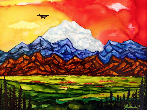 """Talkeetna Skyline"",  alcohol ink painting"