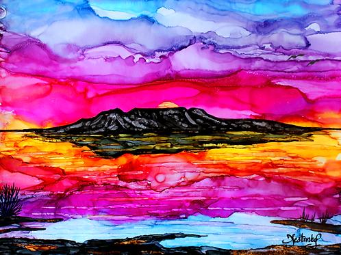 """Sleeping Lady Sunset"", alcohol ink painting"