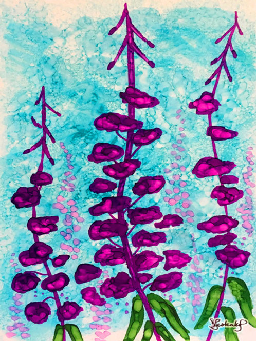 """Fireweed Resilience"", alcohol ink painting"