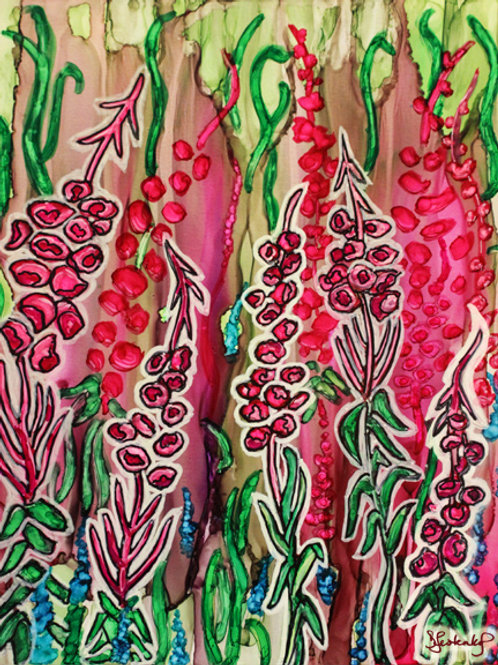 """Fireweed Garden"", alcohol ink painting"