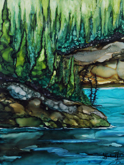 """Kenai Brookside"", alcohol ink painting"