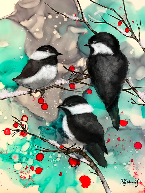 """Winter Chickadees"",  alcohol ink painting"