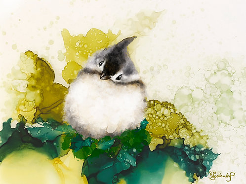 """Tufted Titmouse"", alcohol ink painting"