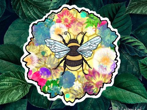 XL Flower Bee waterproof sticker