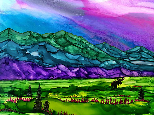 """Knik Arm"",  alcohol ink painting"