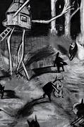 dibujo gótico de seres en la noche