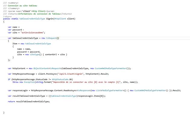 Utilisation de l'API REST de Tableau 10 en C# | ActInVision | Big