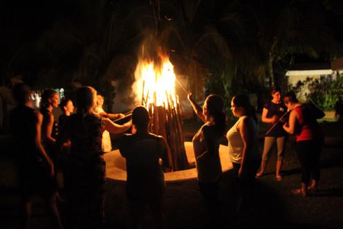 Gethering around the bon fire 1