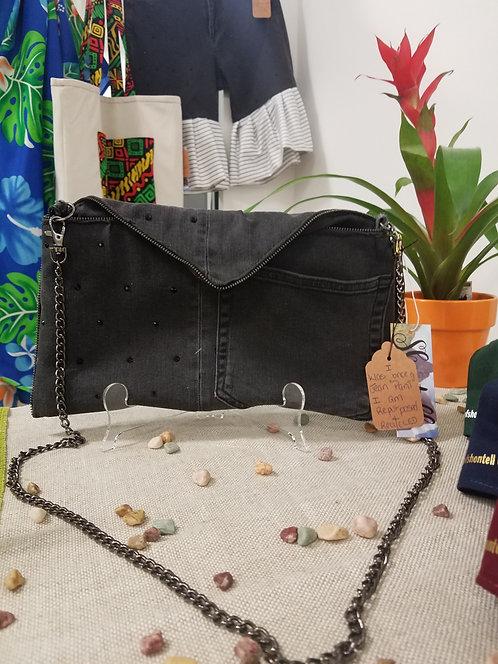 Black Denim Cross-Body Bag