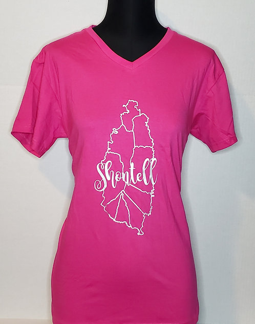 V-Neck Ladies T-Shirt (Click for various color options)
