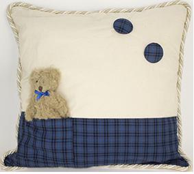 Tartan Cushion with Teddy