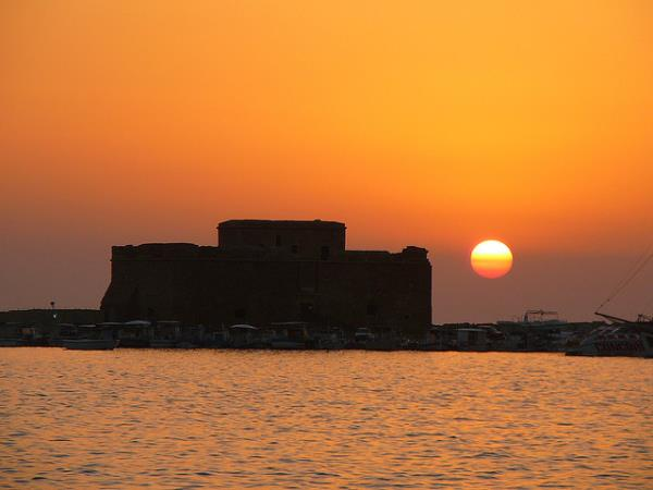 Paphos castle sunset
