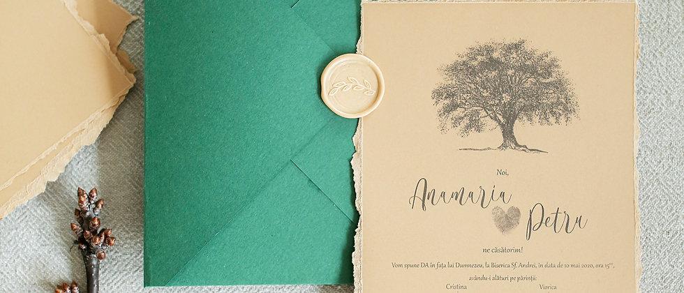 Invitație de nuntă Oak Tree cod 2014