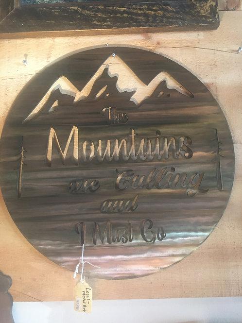 "Metal Wall Art - ""Mountains are Calling.."", Sawblade W/Bear in Pines.."